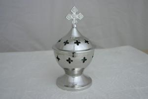 Tisch-Rauchfass mit gehämmertem Kreuz H 13